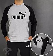 Спортивный костюм Puma, серое туловище, черные рукава и штаны, ф3837