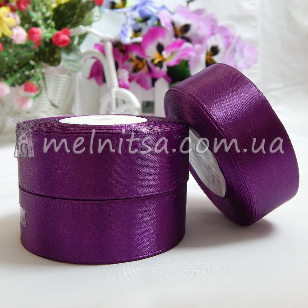Атласная лента 2,5 см, №34 фиолетовый, рулон 23 м