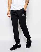Штаны Adidas, адидас, черные, белое лого, молодежные, спортивные, мужские, ск3