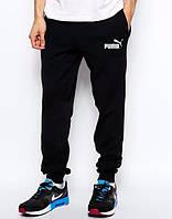 Штаны Puma, пума, черные, молодежные, белое лого, спортивные, хлопковые, ск16