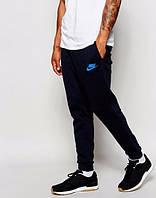 Штаны Nike, найк, синие, с манжетом, спортивные, хлопковые, ск26