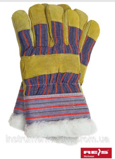 Перчатки спилковые комбинированные утепленные REIS RSO (спилок+х/б)