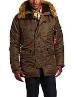 Куртка Alpha Slim Fit N-3B Parka Brown/Red