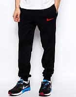 Спортивные штаны Nike черные,красный логотип найк, ф3515