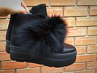 Ботинки  женские  с натуральной кожей/замш и мехом на платформе