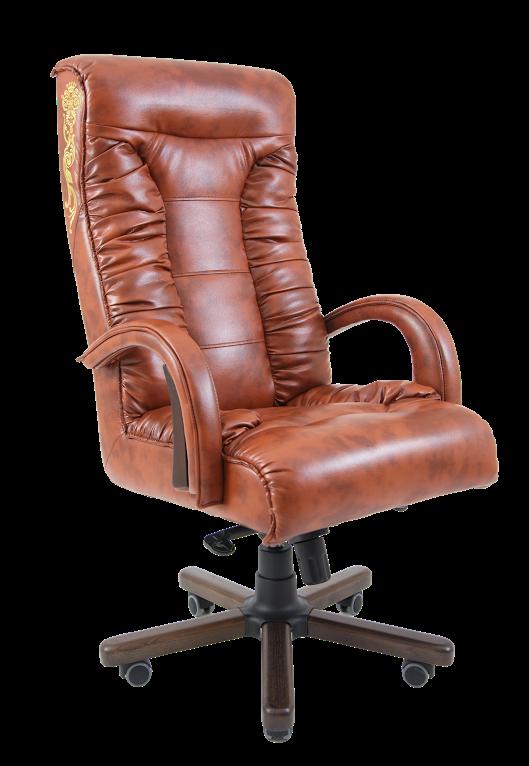 Кресло Оникс Орех механизм Anyfix кожзаменитель Титан Коньяк с вышивкой (Richman ТМ)