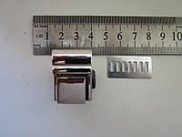 Замок клавишный, для портфеля, барсетки 20 х 27 мм никель