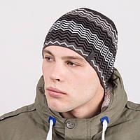 Молодежная вязаная мужская шапка casual - Артикул m54а