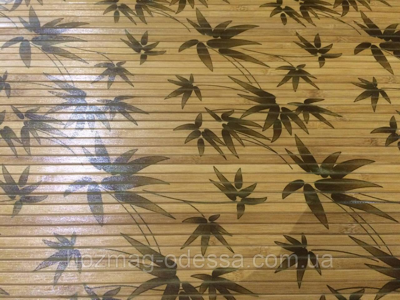"""Бамбуковые обои """"листья бамбука"""" коричневые лак.матовый, ширина 90 см"""
