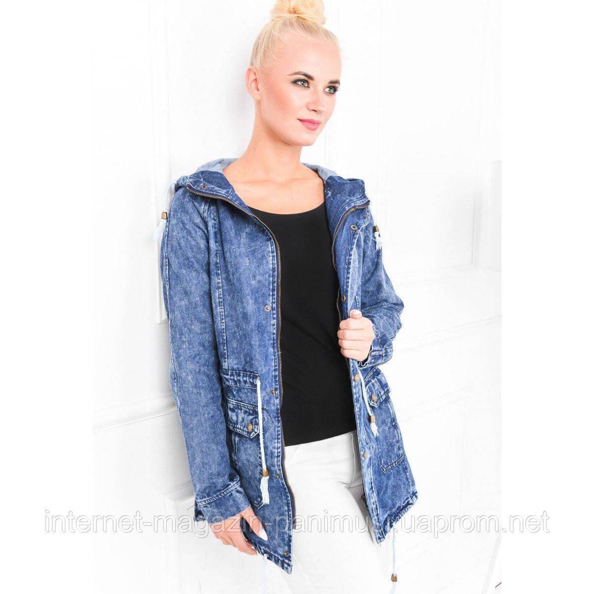 Женская демисизонная джинсовая куртка. Длинная Бесплатная Доставка