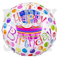 Воздушный фольгированный шарик Happy Birthday, с тортом