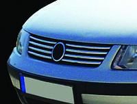 Volkswagen Passat B5 1997-2005 гг. Накладки на решетку (нерж) 1996-2001 год