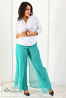 Женские Шифоновые брюки Батал мята