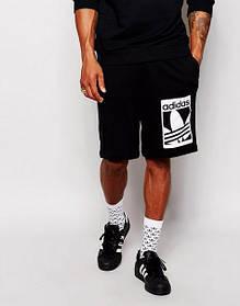 Шорты Adidas, адидас, черные, большое лого, трикотаж, ст1