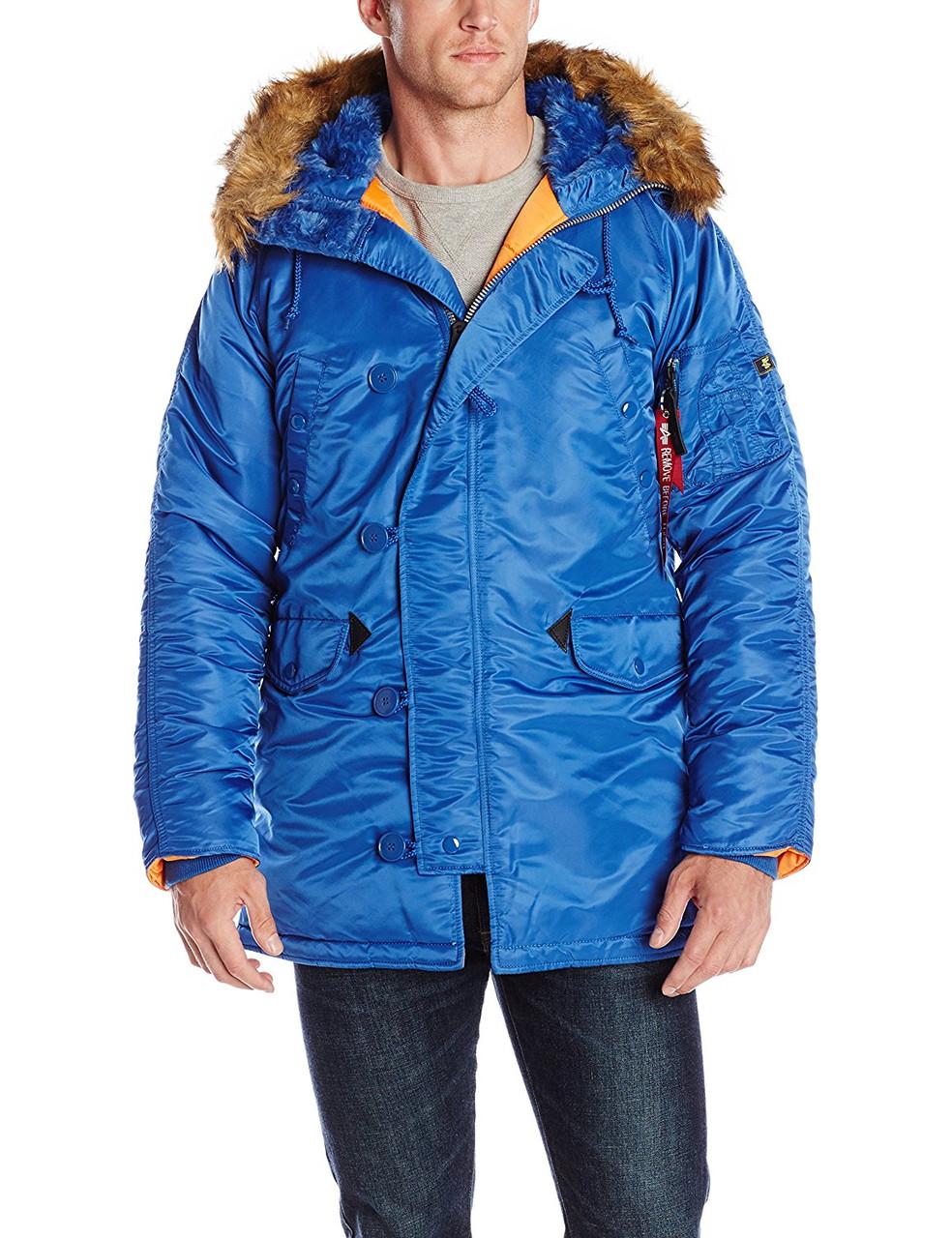 f1f08929 куртка Alpha Slim Fit N-3B Parka Pacific Blue/Orange, интернет ...