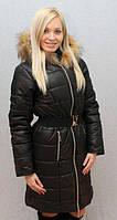 Женское, молодежное, красивое, теплое, модное, зимнее пальто, мех -песец цвет черный р-42 - 58