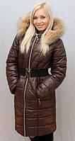 Женское, молодежное, красивое, теплое, модное, зимнее пальто, мех -песец цвет коричневый р-42 - 58