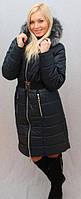 Женское, молодежное, красивое, теплое, модное, зимнее пальто, мех -песец цвет темно- синий р-42 - 58