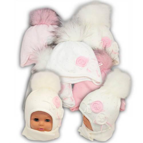 Детский комплект - шапка и шарф для девочки - i-5, Ambra (Польша), утеплитель Iso Soft