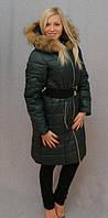 Женское, молодежное, красивое, теплое, модное, зимнее пальто, мех -песец цвет зеленый р-42 - 58