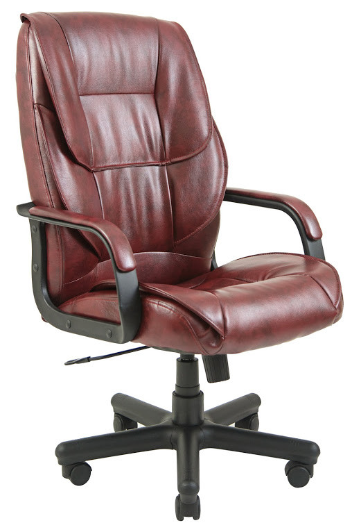 Кресло Фокси пластик механизм Tilt подлокотники с мягкими накладками, экокожа Титан Бордо (Richman ТМ)