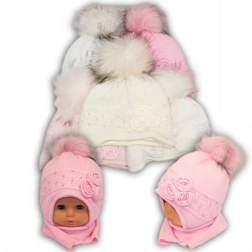 Детский комплект - шапка и шарф для девочки - i20, Ambra (Польша), утеплитель Iso Soft