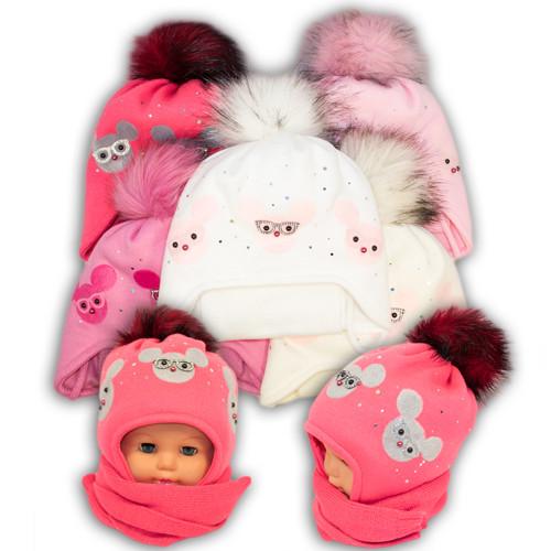 Детский комплект - шапка и шарф для девочки,  Ambra (Польша), утеплитель Iso Soft, P13