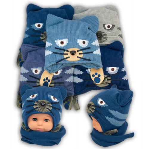 Детский комплект - шапка и шарф для мальчика, Ambra (Польша), утеплитель Iso Soft, T16