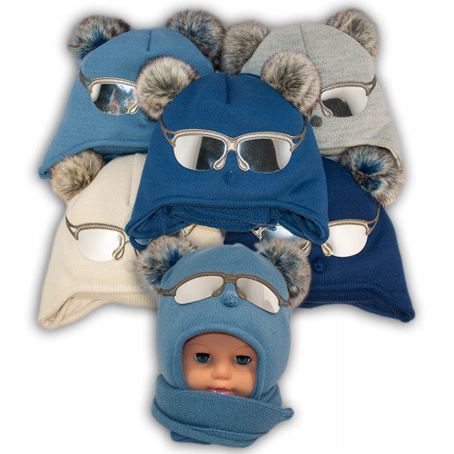 Детский комплект - шапка и шарф для мальчика,  Ambra (Польша), утеплитель Iso Soft, T24