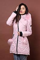 Зимняя женская молодежная куртка. Код К-79-36-17. Цвет пудра.