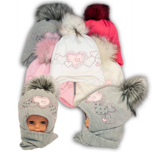 Детский комплект - шапка и шарф для девочки, Ambra (Польша), утеплитель Iso Soft, P27