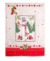 Полотенце вафельное новогоднее Снеговик