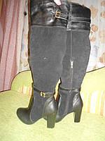 Ботфорты женские каблук кожа