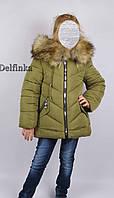 Пальто зимнее 66-295, холлофайбер, размеры 128 и -134см, фото 1