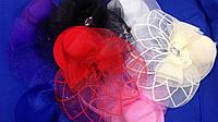 Шляпка на уточках с вуалью белый, беж, красный, розовый, малиновый