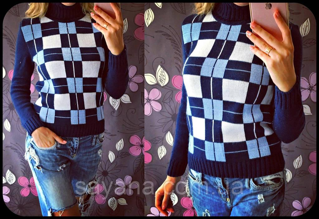 """Женский стильный вязаные свитер """"Клетка"""" , в расцветках"""