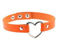 Кожаный ошейник - чокер с сердцем оранжевый