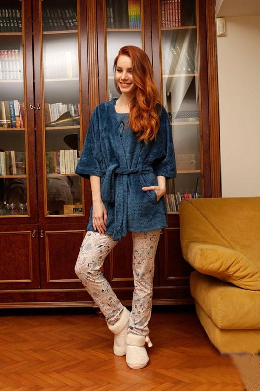 Жіночий комплект-трійка для дому із темно синім халатом на запах HAYS 6036