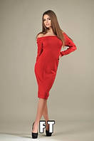 Стильное женское платье из трикотажа с открытыми плечами