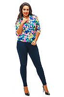 Синий  пиджак в яркий цветок,  батал. Арт-8745/74
