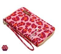 Компактный дорожный органайзер для документов (розовый леопард)