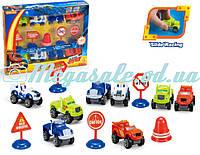Набор машинок Вспыш (машинки Blaze): 8 машинок в комплекте + дорожные знаки