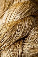 Шторы нити Люрекс бежевые с золотым люрексом