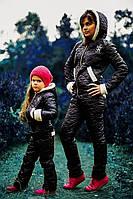 Детский стильный теплый спортивный костюм с вышивкой \ Дочка\ черный