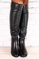 Черные, кожаные сапоги без каблука, демисезонные