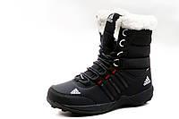 Кроссовки женские Adidas, зимние, высокие, на меху, черные, фото 1