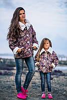 Детская стильная куртка на меху с цветочным принтом\ Дочка