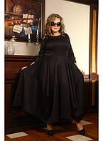 Женское платье в пол Габби дайвинг цвет черный размер 48-72 / для полных девушек