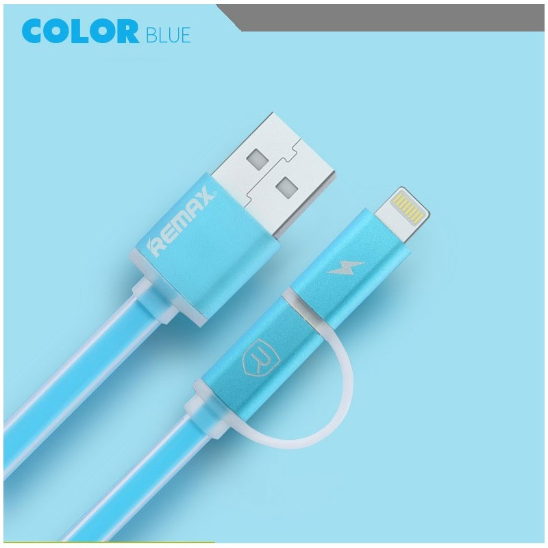 USB Кабель Remax Aurora 2 в 1 Micro USB+Lightning, синий