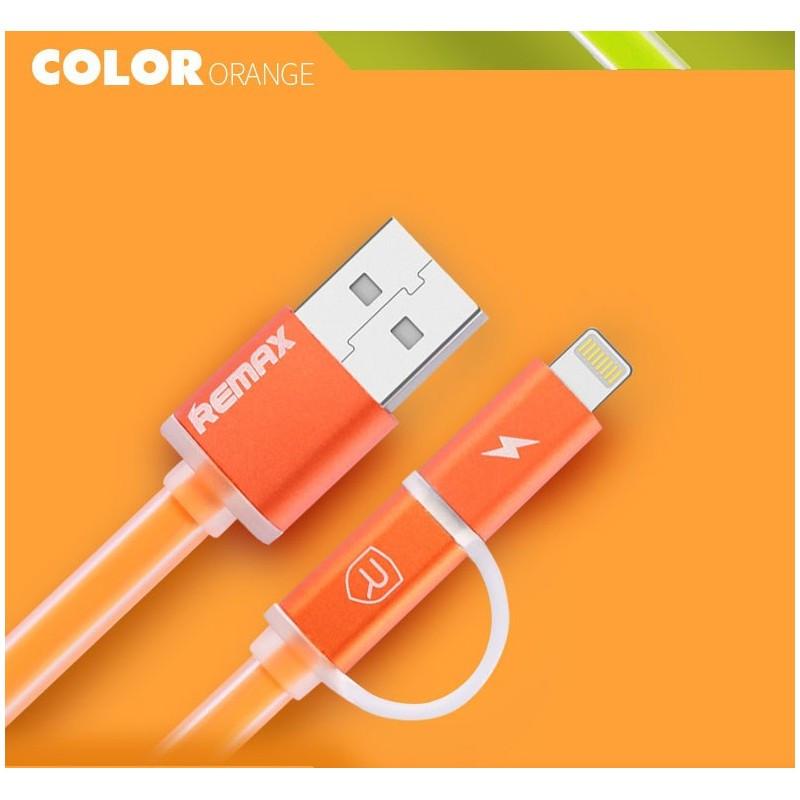 USB Кабель Remax Aurora 2 в 1 Micro USB+Lightning, оранжевый